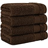 奢华酒店和水疗品质,* 环纺真棉,United Home Textile 的*大柔软度和吸水性 巧克力棕色 Washcloth Set - 4 Pack