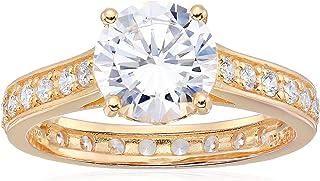 18k 镀金纯银圆形 8mm 立方氧化锆永恒戒指 订婚戒指
