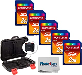 Transcend 2GB SD *数字存储卡 TS2GSDC(5 个装)+ Vivitar 存储卡硬壳(24 个卡槽)+ 无照片相机和镜头清洁布 - 豪华配件包