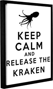 ArtWall Art D Signer Kcco's 'Keep Calm and Release The Kraken' Gallery-Wrapped Floater-Framed Canvas Artwork, 18 by 24""