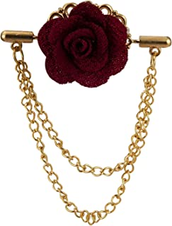 AN KINGPiiN 栗色花朵双吊链翻领别针胸针西装铆钉衬衫铆钉男士配饰