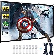 投影机屏幕,Powerextra 120 英寸 16:9 HD 可折叠防皱便携式可洗投影屏幕,适用于家庭影院户外支持双面投影