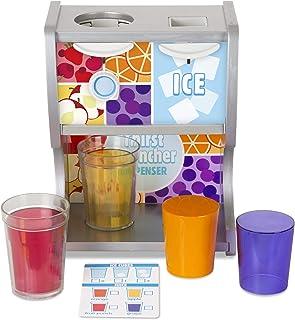 Melissa & Doug 木制止渴饮水机玩具套装,含杯子、果汁杯、冰块(10件)