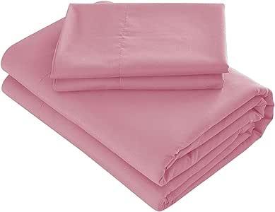 Prime 床上用品床单套装 - 4 件套超细纤维 2000 床上用品- 玫瑰粉 全部