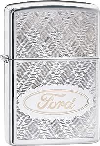 Zippo 中性款福特手写笔,图案防风打火机,镀铬,常规款