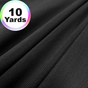 Power Mesh 面料 | 5 码连续 | 152.4 cm 宽 | 4 向拉伸,10% 氨纶 | 轻质,透明(黑色) 黑色 10 Yards PowerMesh-Black-10Yd
