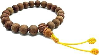 Healing Lama 中性款 10MM 珠子正品喜马拉雅山檀香藏冥想祈祷手链。 带 Rudrakshya Guru 珠子。 佛像瑜伽手链。