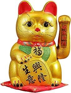 波浪臂猫幸运幸运财猫瓷器 金色 9英寸