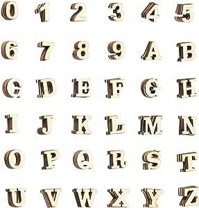 木制字母 - DIY 工艺品的木质字母和数字贴纸,家居装饰,自然色 棕色 144-Count Small ZECGY