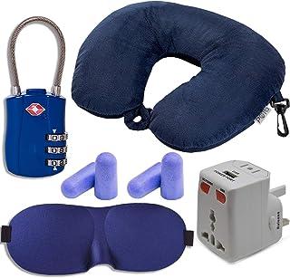 HeroFiber 旅行和飞翔舒适套件,包括串珠颈枕、带 USB 的国际适配器、眼罩、降噪耳塞(可重复使用),TSA 认可行李锁,