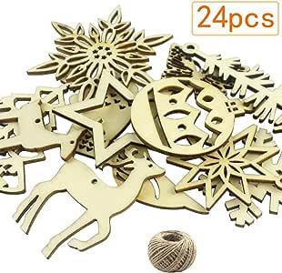 CEWOR 24 件圣诞悬挂装饰木质圣诞装饰(12 种不同款式)和 30 米黄麻绳