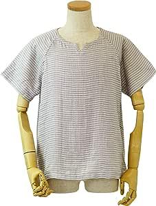 UCHINO 男式 T恤 棉花糖纱布 条纹 浅灰色 X-Large RTS95395 LGy