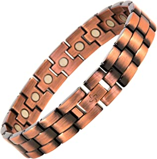 Reevaria 男式优雅* 99.9% 纯铜磁性*手镯 *和腕管缓解* 3500 Gauss Links