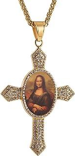 HZMAN 玛丽母亲婴儿耶稣基督不锈钢镶嵌方晶锆石十字架吊坠项链 55.2 + 5.2 厘米链