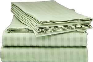 Bella Kline Deluxe 1800 条纹床单套装 鼠尾草橄榄绿 Queen COMIN16JU032667