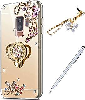 Galaxy S9 Plus 钻石手机壳,水晶镶嵌钻石蝴蝶水钻钻石闪光镜面背部 TPU 手机壳和指环支架 + 触摸笔防尘塞适用于 Galaxy S9 Plus 镜面手机壳,玫瑰金