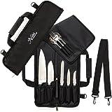 厨师刀卷袋(6 个槽)加垫,可容纳 5 把刀,另外还有一个适用于您的刀具钢的保护袋! 我们的耐用刀架包括肩带、手柄和名片夹。 (仅包)