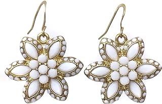 白色宝石圆点花金色吊坠耳环