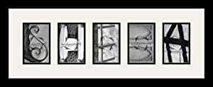 Art to Frames LetterArt-SHEBA-49689-61/89-FRBW26079 字母艺术/字母摄影相框 - SHEBA - 带 5-4x6 开口。 和缎面黑色框架