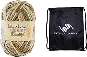 Bernat Baby Blanket Big Ball Yarn (1-Pack) Little Sand Castles 161104-04011 with 1 Artsiga Crafts Project Bag