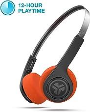 JLab Audio Rewind 无线复古耳机,蓝牙 4.2— 12 小时播放时间,定制 EQ3 声音,音乐控制 — 噪声隔离 — 带麦克风,Throwback 80s 90s 设计 — 黑色HBREWINDRBLK4 黑色