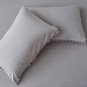 Cozyholy 奢华柔软 4 件套床单浪漫圆珠流苏基本设计床单套装 四季 高支 大号双人床 床 浅灰色 Queen