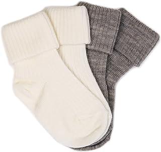 Woolino 羊毛婴儿袜,可水洗美利奴羊毛婴儿学步儿童袜,新生儿至 2 岁(2 双装)
