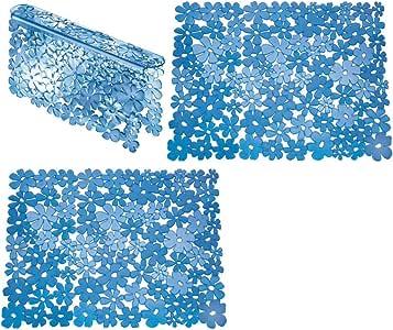 mDesign ColorsPebblzSinkMats Blue - Set of 2 02623MDK