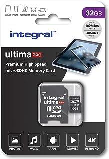 Integral UltimaPro X 32 GB microSDHC 超高速 Class 10 存储卡,U3 额定值INMSDH32G-100/70V30 100 MB/s U3 V30 32 GB