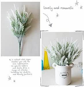 Hoomall 7 束人造薰衣草花束 假薰衣草 午餐 人造植物 适合婚礼、家居装饰、办公室、花园、庭院装饰 白色 3x14.5 inches O0AR00UA0S1S-1