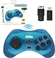 Retro-Bit 官方 Sega Saturn 2.4 GHz 無線控制器 8 鍵式拱門墊,適用于 Sega Saturn、Sega Genesis Mini、任天堂開關、PS3、PC、Mac - 包括 2 個接收器和收納盒 - 透明藍色