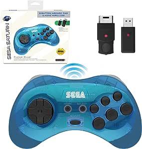 Retro-Bit 官方 Sega Saturn 2.4 GHz 无线控制器 8 键式拱门垫,适用于 Sega Saturn、Sega Genesis Mini、任天堂开关、PS3、PC、Mac - 包括 2 个接收器和收纳盒 - 透明蓝色