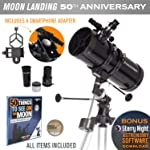 Celestron PowerSeeker 127EQ Newtonian 反光镜望远镜带智能手机适配器 - 限量版 Apollo 11 50 周年纪念套装附赠纪念币和书籍
