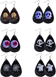 6 对万圣节皮革耳环,骷髅亮片,水滴,双皮革耳环