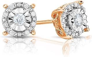标准纯银1/4ctw 圆形钻石耳环