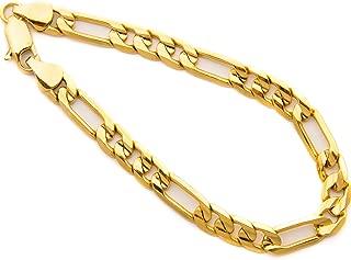终身珠宝费加罗手链 7MM 24K 厚镀金手腕链男女通用附送礼品袋可选尺寸 17.7-22.86 cm