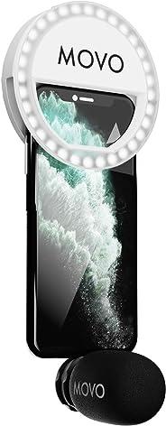 Movo LPM100 立体声闪电麦克风 + LED 环灯套件兼容 Apple iPhone、iPad 和 iPod