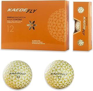 KAEDE Fly Golf 2 只装混合色距离高尔夫球 金色(一打)