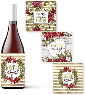乡村酒瓶标签圣诞节(15 个装)红杉节日派对用品礼品袋贴纸多种用途