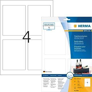 Herma 8882 瓶子标签喷墨打印机 照片质量 40 件(90 × 120 毫米 A4 纸 白色) 10 张 可自行打印 粘合 墨水
