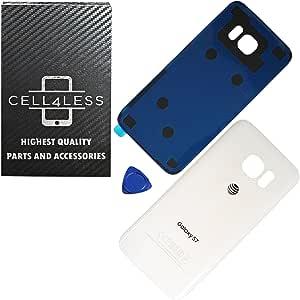 CELL4LESS 兼容后玻璃盖后电池门带预安装的粘性替换件适用于三星 Galaxy S7 - 所有型号 G930 所有运营商 - 2 个徽标 - OEM 替换 ATT White