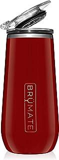 BrüMate 12盎司(约340.2毫升)绝缘香槟酒杯,带饮用盖 - 采用真空绝缘不锈钢制成 樱桃色