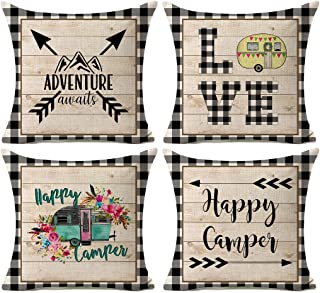 Kithomer 快乐露营枕套水牛格子乡村木家居户外装饰棉麻抱枕套靠垫套 45.72 厘米 x 45.72 厘米 4 件套
