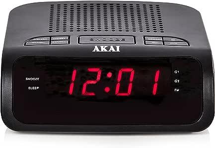 Akai A61020 AM/FM 闹钟,0.6 英寸 LED 显示屏 - 黑色