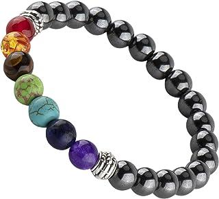RIVERTREE 黑色熔岩串珠手链 7 Chakras 宝石带编织绳中性款 8mm