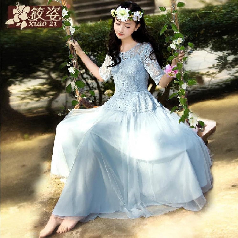 人间丰衣 春夏新款女公主蕾丝仙女蓬蓬长裙连衣裙