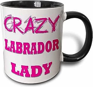 设计玫瑰金色疯狂拇指 pointing 后女用是–crazy labrador 女用–马克杯 黑色/白色 11 oz