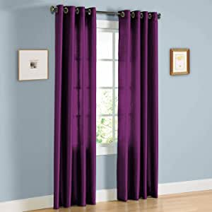 J&V TEXTILES 2 片纯色索环人造丝窗帘 213.36 厘米长 紫色
