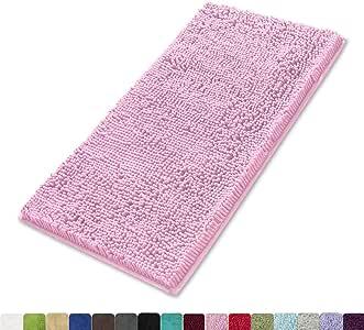 MAYSHINE 吸水超细纤维 Chenille 狗门垫,耐用、快干,可洗涤,防止泥土 粉红色 24x39 inches MSUS18091718