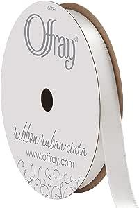 "Offray - Single Face Satin Ribbon 3/8"" Wide 18 Feet 白色"